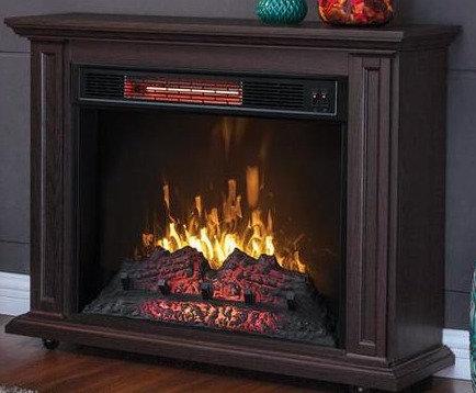 Greentouch 33 in W x 26 in H x 10.5 in D Brown Poplar Rolling Fireplace Mantel