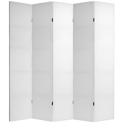 7 ft. White Do It Yourself Canvas 5-Panel Room Divider