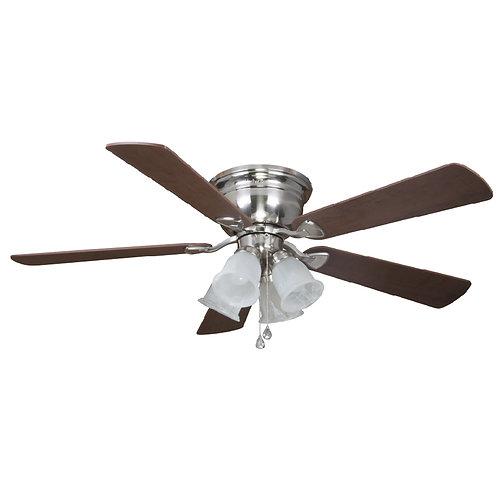 Harbor Breeze Centreville 52-in Brushed Nickel LED Indoor Flush Mount Ceiling Fa