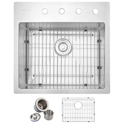 Glacier Bay All-in-One Drop-in Stainless Steel 23 in. 4-Hole Single Bowl Kitchen