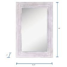 Allen & Roth 44-in L x 31-in W Distressed White Framed Wall Mirror