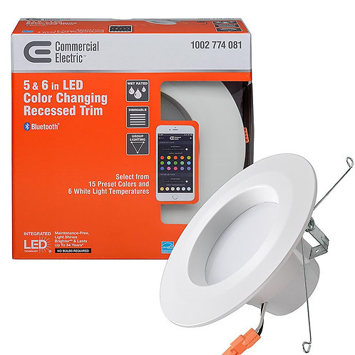 Commercial Electric Bluetooth 5 in. / 6 in. Selectable Integrated LED Recessed T