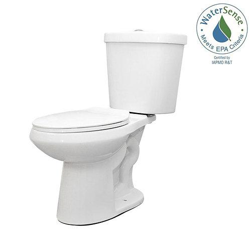 Glacier Bay 2-piece 1.1 GPF/1.6 GPF Dual Flush Round Toilet in White