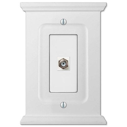 Amerelle Mantel 1 Gang Coax Wood Wall Plate - White