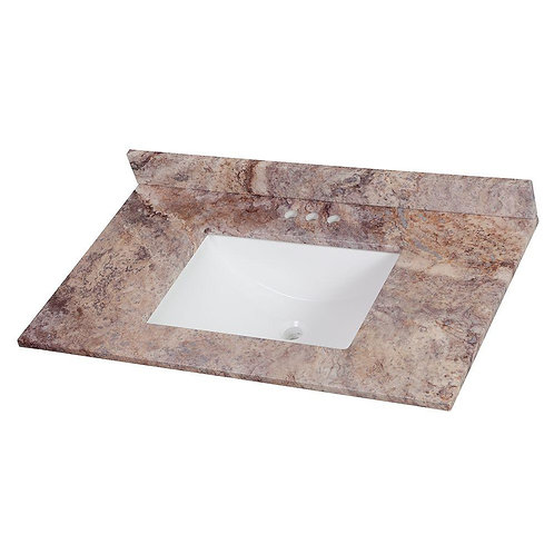 HDC  37 in. Stone Effects Vanity Top in Coffee with White Sink
