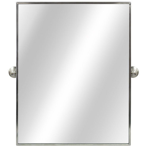 22 in. W x 28 in. L Framed Fog Free Wall Mirror in Brushed Silver