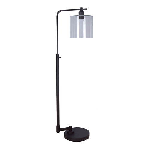 allen + roth Tapsley 57.5-in Bronze Downbridge Floor Lamp with Glass Shade