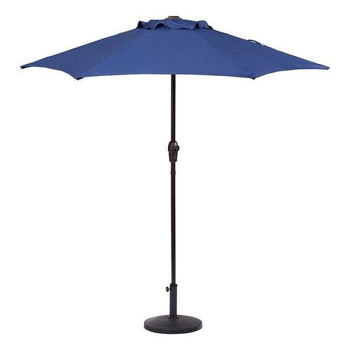 Garden Treasures Navy Market 7.5-ft Round Patio Umbrella with Dark Brown Steel F