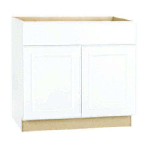 Hampton Bay Hampton Assembled 30x34.5x24 in. Sink Base Kitchen Cabinet in Satin