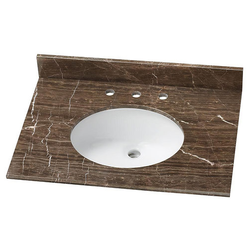 HDC 31 in. Stone Effects Vanity Top in Coffee with White Sink