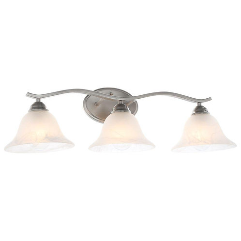 Hampton Bay Andenne 3-Light Brushed Nickel Vanity Light with Bell Shaped Marblei