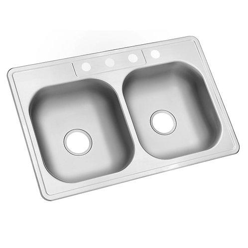 Glacier Bay Drop-In Stainless Steel 33 in. 4-Hole Double Basin Kitchen Sink