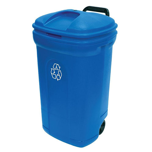 34 Gal. Wheeled Outdoor Trash Can Recycling in Blue