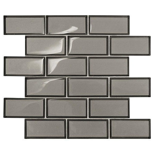 Daltile Premier Accents Smoke Gray Brick Joint 11 in. x 13 in. x 8 mm Glass Mosa