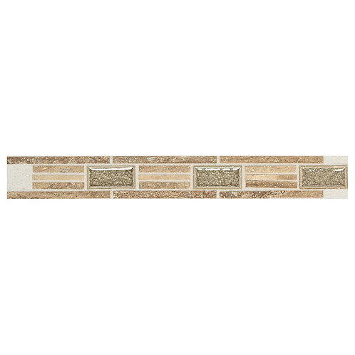 Daltile Stone Decor Linear Fantasy 1-5/8 in. x 12 in. Travertine with Crackled G