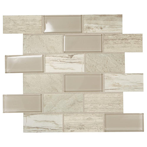 Datile Premier Accents Beach Brick Joint 11 in. x 13 in. x 6 mm Glass Mosaic Wal