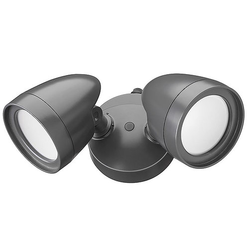 Defiant 2 Head Dark Bronze Outdoor Integrated LED Security Flood Light with Dusk