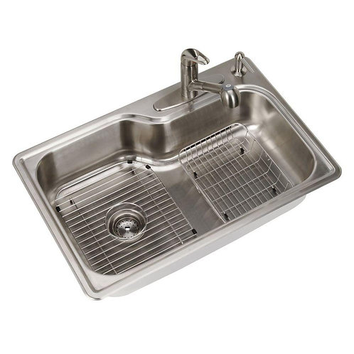 Glacier Bay All-in-One Drop-in Stainless Steel 33 in. 4-Hole Single Basin Kitche