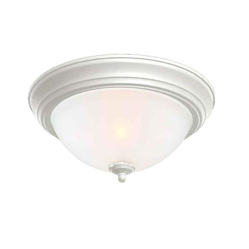 Commercial Electric 13 in. 2-Light White Flushmount with Frosted Glass Shade (2-