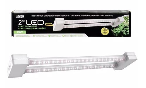2 ft. 2-Light 19-Watt White LED Hydroponic Grow Light