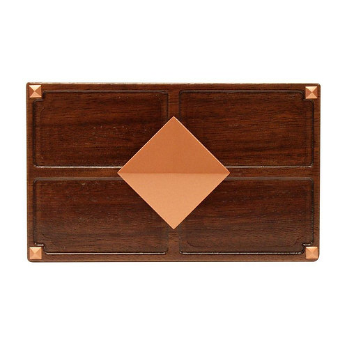 HB Wireless or Wired Door Bell, Medium Red Oak Wood with Diamond Medallion