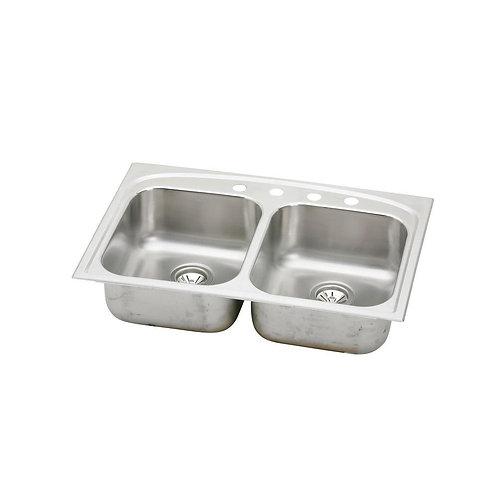 Elkay Pergola Drop-In Stainless Steel 33 in. 4-Hole Double Basin Kitchen Sink