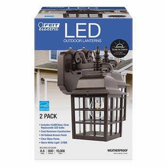 "Feit Electric 12"" LED Coach Lantern, 2-pack"