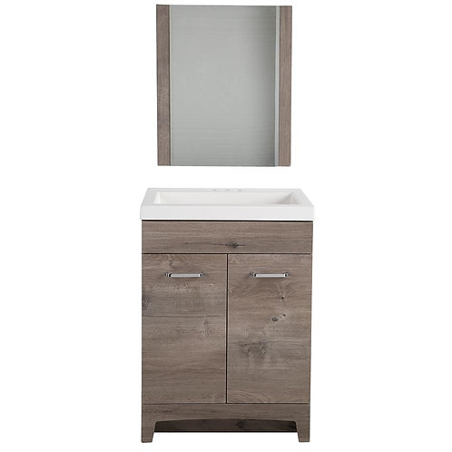 Glacier Bay Stancliff 24.5 in. W Vanity in White Washed Oak with Cultured Marble