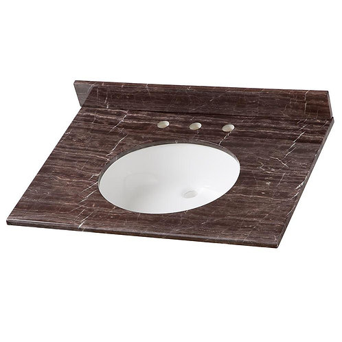 31 in. Stone Effects Vanity Top in Coffee with White Basin