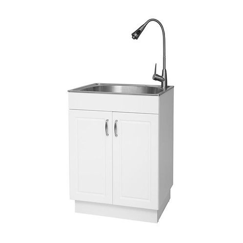 Glacier Bay All-in-One 24 in. x 24.5 in. x 34.5 in. Plastic Laundry Sink and Woo