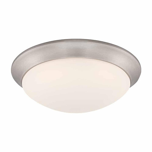 11 in. 120-Watt Equivalent Brushed Nickel Integrated LED Flushmount with Frosted