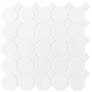 Matte White Octagon Dot 12 in. x 12 in. x 6mm Ceramic Mosaic Floor and Wall Tile