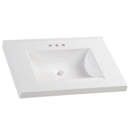 GB 31 in. Cultured Marble Vanity Top in White with White Basin
