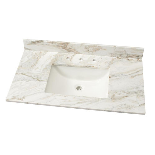 37 in. W Marble Single Basin Vanity Top in Arabescato Venato with White Basin
