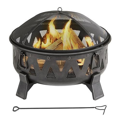 Garden Treasures 29.92-in W Antique Black Steel Wood-Burning Fire Pit