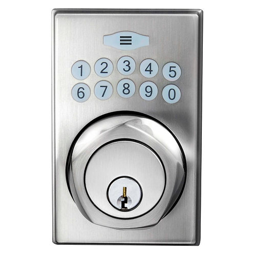 Defiant Single Cylinder Satin Nickel Square Spin-To-Lock Electronic Deadbolt