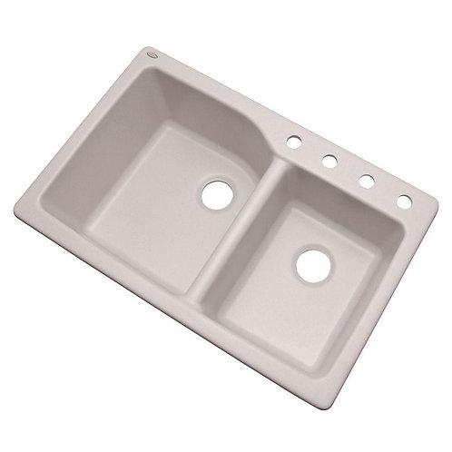 Grande Dual Mount Composite Granite 35 in. 4-Hole Double Basin Kitchen Sink