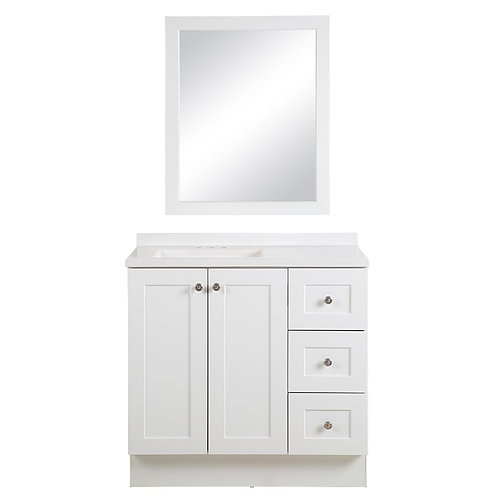 GB Bannister  36.50 in. W Bannister vanity in White and Colorpoint Technology Va