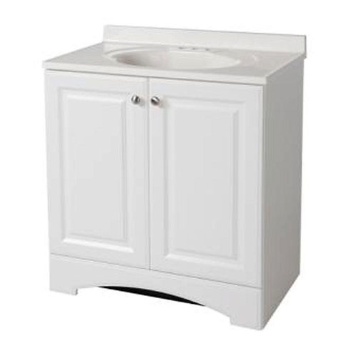 Glacier Bay 30-1/2 in. W Bath Vanity in White with Vanity Top in White with Whit