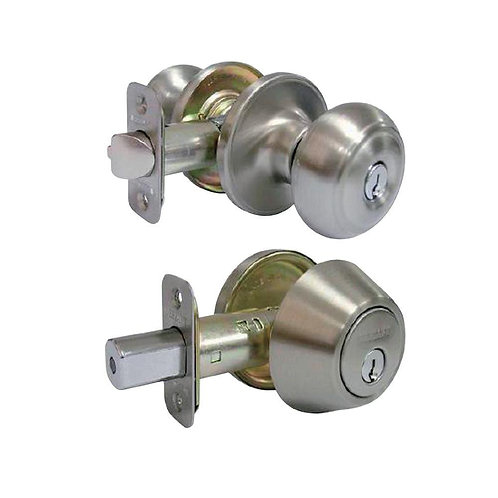 Hartford Satin Nickel Entry Knob and Single Cylinder Deadbolt Combo Pack