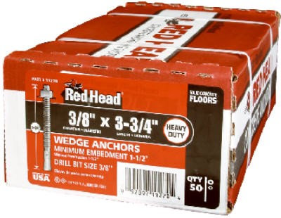 "3/8"" x 3-3/4"" Red Head Trubolt Anchor Zinc Plated WS-3836, 50/Box"