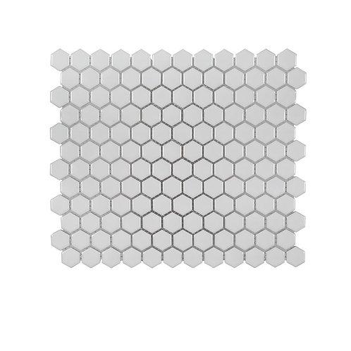 Gardenia White Honeycomb 10.125 in. x 11.625 in. x 6 mm Glossy Porcelain Mosaic