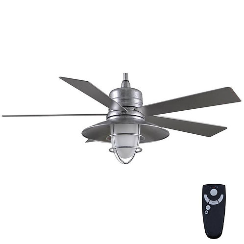 Grayton 54 in. LED Indoor/Outdoor Galvanized Ceiling Fan with Light Kit and Remo