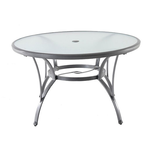 HB Commercial Grade Aluminum Grey Round Glass Outdoor Dining Table