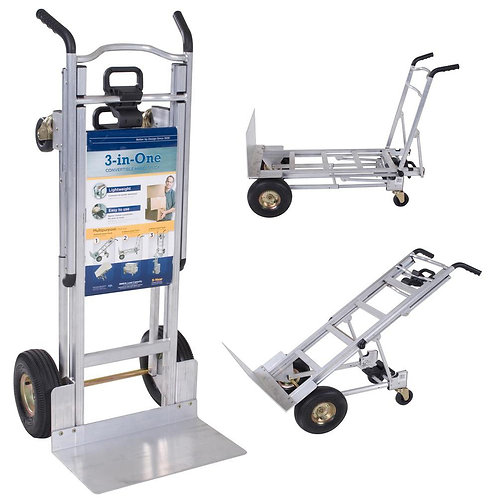 1000 lbs. 3-in-1 Aluminum Assisted Hand Truck with Flat Free Wheels