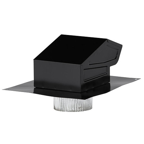 Broan - 3 in. to 4 in. Roof Vent Kit for Round Duct Steel in Black