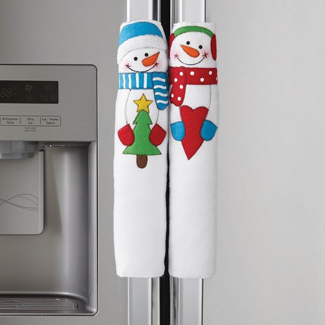 Happy Winter Snowman Appliance Handle Covers - Set of 3