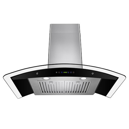 AKDY 36 in. Convertible Wall Mount Range Hood in Stainless Steel with Tempered G