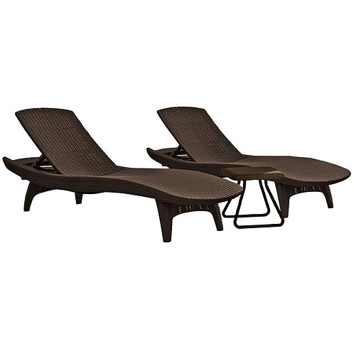 All-Weather Adjustable Resin Patio Chaise Lounger with Side Table (3-Piece Set)