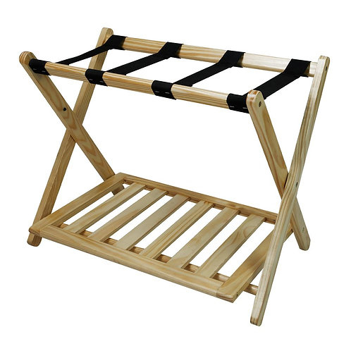 Casual Home 26.75 in. W x 16 in. D Natural Solid Wood Luggage Rack with Shelf
